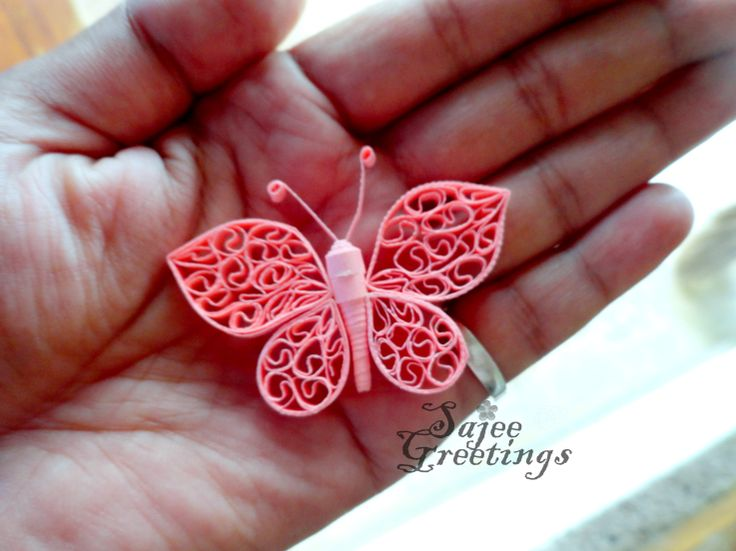 quilling pink butterfly
