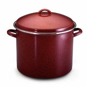 """Paula Deen Signature Enamel on Steel 16- Quart Stockpot, Red Speckle by Meyer Corporation. $49.99. Sturdy loop handles make this pot easy to lift, tip and pour. Oven safe to 500 degrees F; hand washing recommended. Red speckled porcelain exterior is durable and a breeze to clean. Carbon steel stockpot protected by stain-resistant porcelain enamel; 16-quart capacity. Heavy lid seals in heat and moisture; looped handle. """"For those who love contemporary design, I did my best to..."""