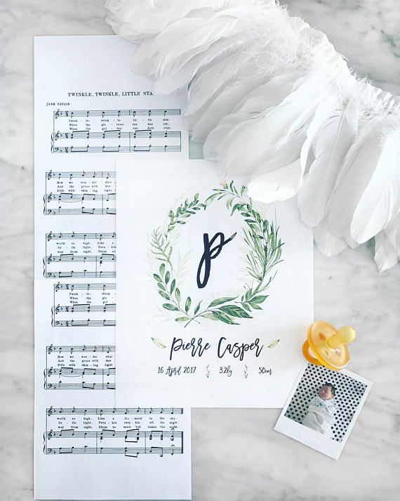 Printable Custom Leafy Wreath Monogram Name & Birth Details
