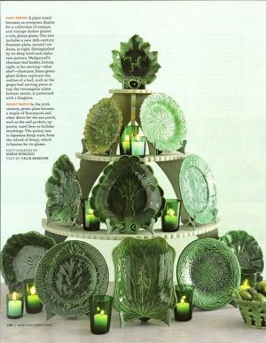 leafy green antique majolica - nice display