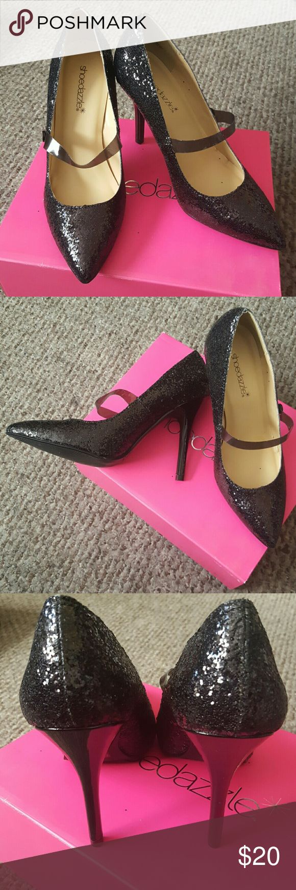 Black Glitter MaryJane Heels from Shoe Dazzle Brand new in box. Never worn. Shoe Dazzle Shoes Heels