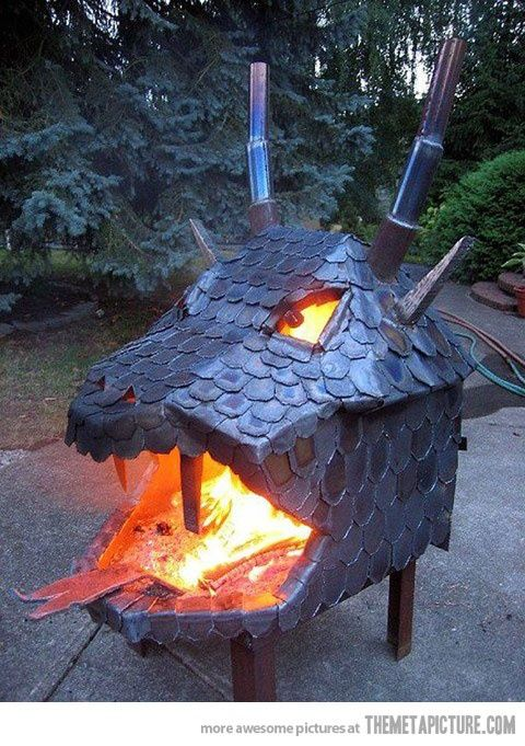 Dragon Fire Pit... Ryan knows how to weld, so he needs to make this for our future house.