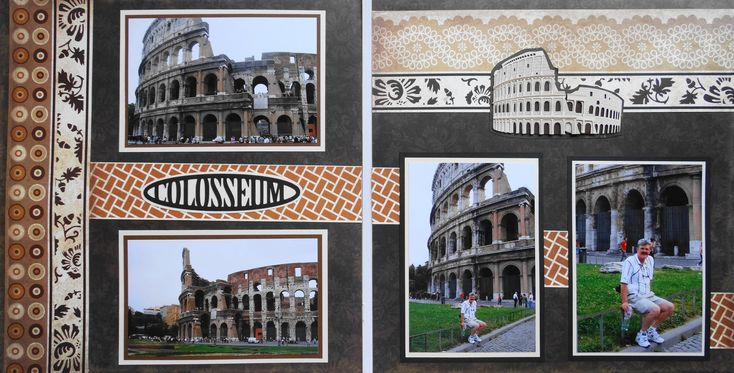 Scrapbook Page - Colosseum in Rome - 2 page travel layout with the colosseum - from Travel Album 3