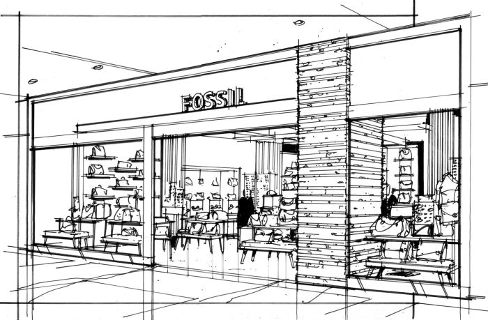 Рисунок магазина одежды внутри