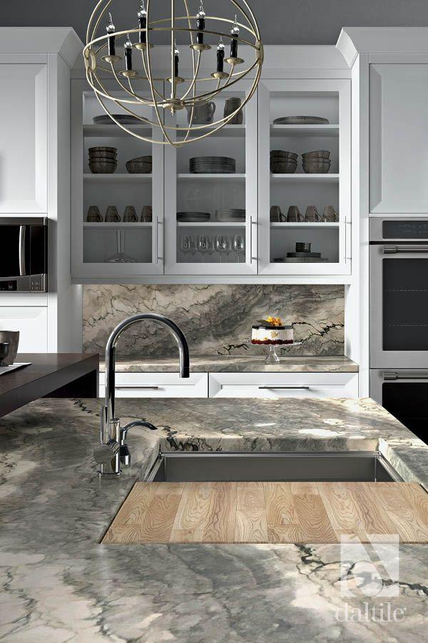 Natural Quartzite In Cesari Grey On The Countertop And Backsplash