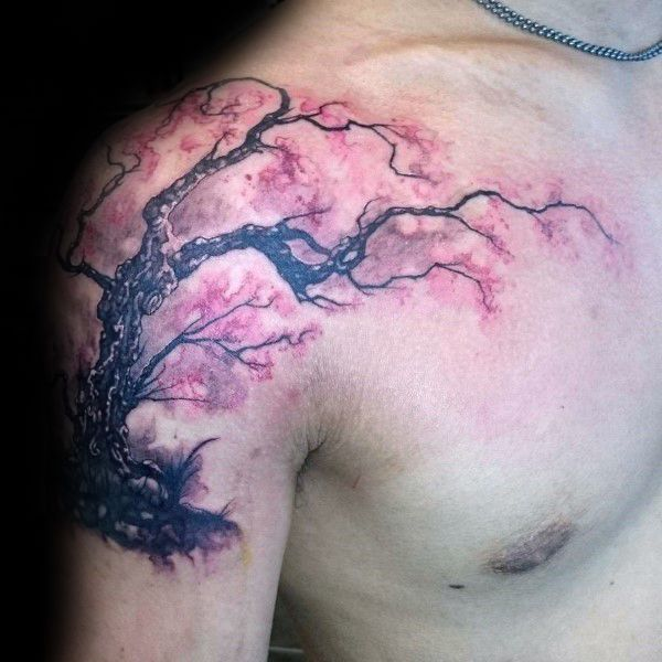 Realistic Cherry Blossom Tree Male Shoulder Tattoo