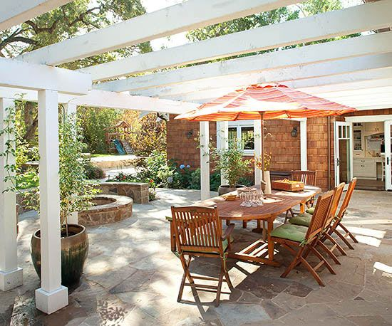 Bold wood and stone structures define the dining and entertainment spaces in the party-ready patio: http://www.bhg.com/home-improvement/porch/outdoor-rooms/backyard-makeovers/?socsrc=bhgpin040915afterroomyretreat&page=13
