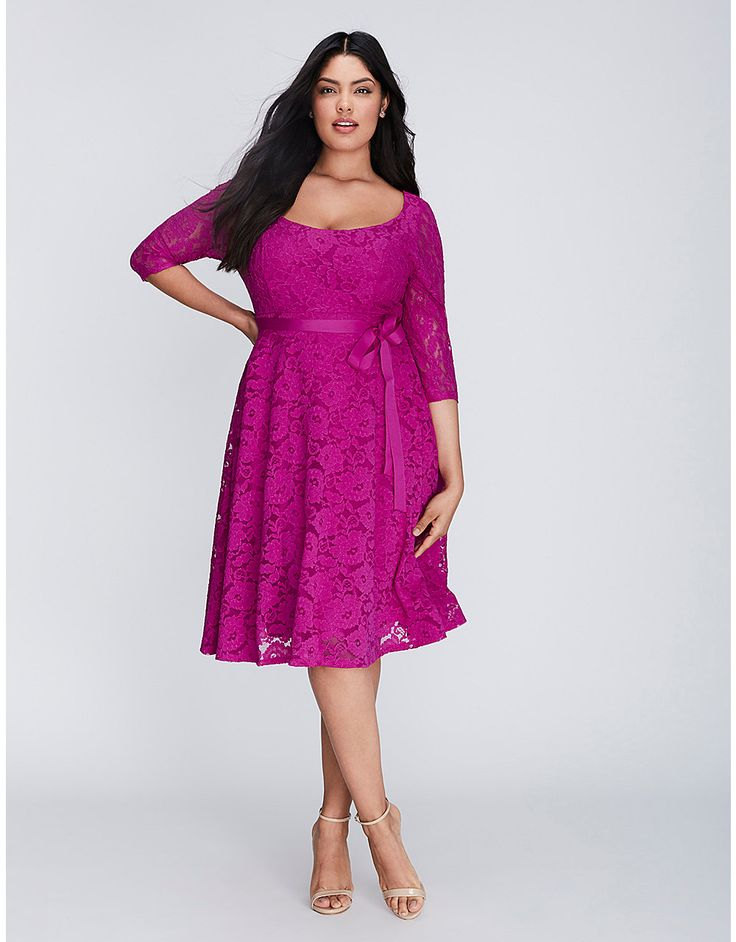 Lace Fit & Flare Dress | Lane Bryant