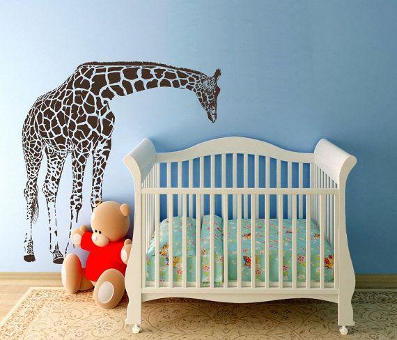 Sale LARGE Giraffe Baby Nursery Wall Decals by wallvinyldesigns, $89.00