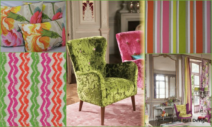 Pink Striped Upholstery Fabric From Jane Hall Design Jab White Grey Woven Jacquard