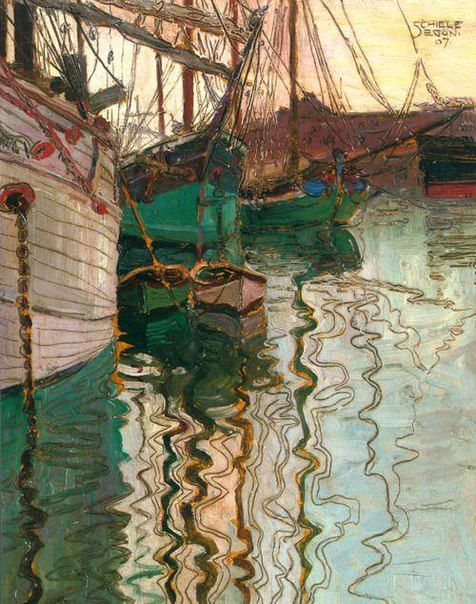 Egon Schiele Рыбацкие лодки в воде 1907