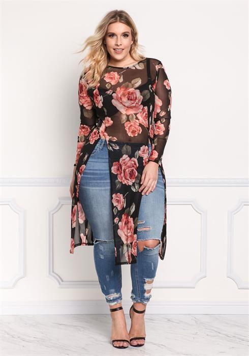 Plus Size Rose Mesh High Slit Top