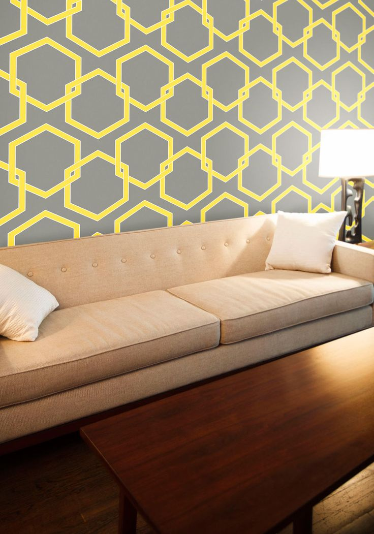This could look good over our couch. Oak Park Temporary Wallpaper - Grey, Yellow, Vintage Inspired, Mod, Mid-Century, Print