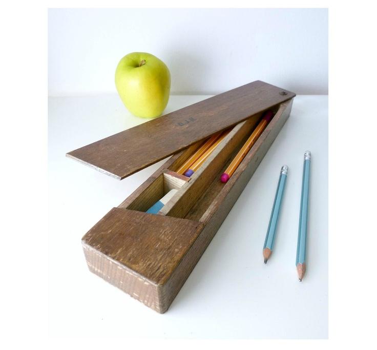 1950's wood pencil box