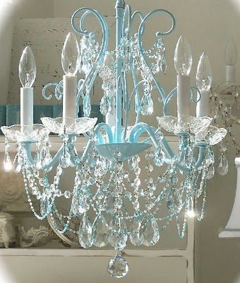 Shabby chic chandelier… for my Tiffany & Co laundry room!!! :)