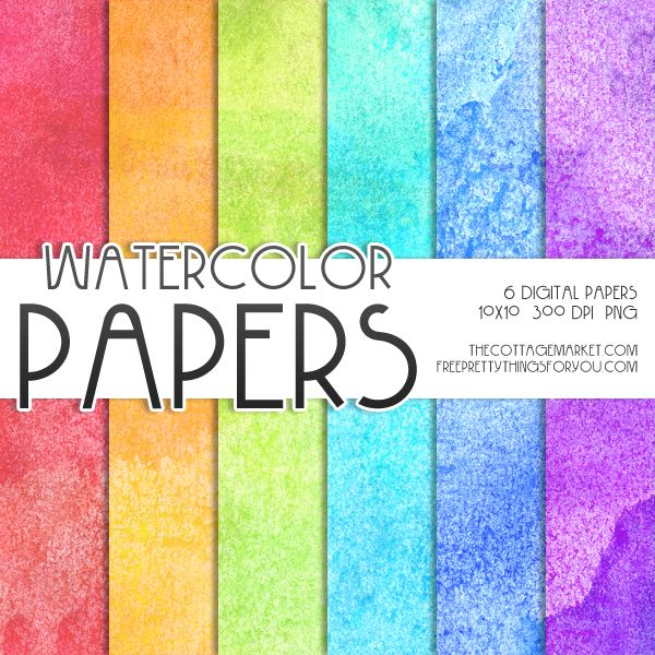 Free Watercolor Digital Paper Pack 1 - The Cottage Market*