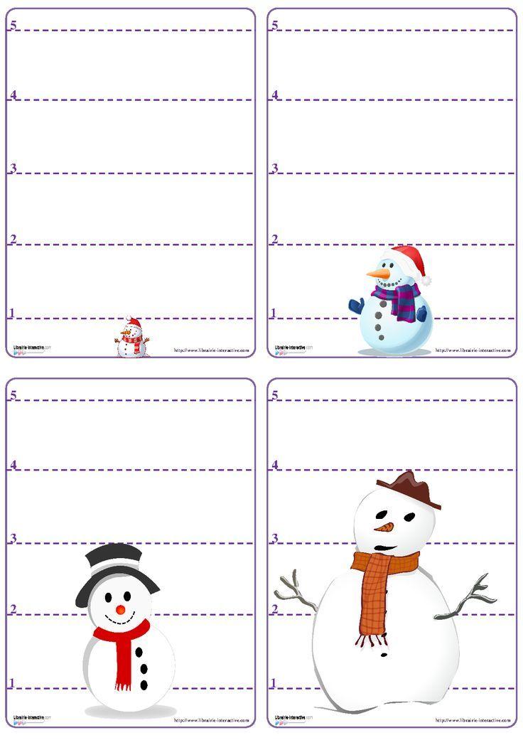 Un jeu de bataille avec les chiffres de 1 à 5 sur le thème du bonhomme de neige.