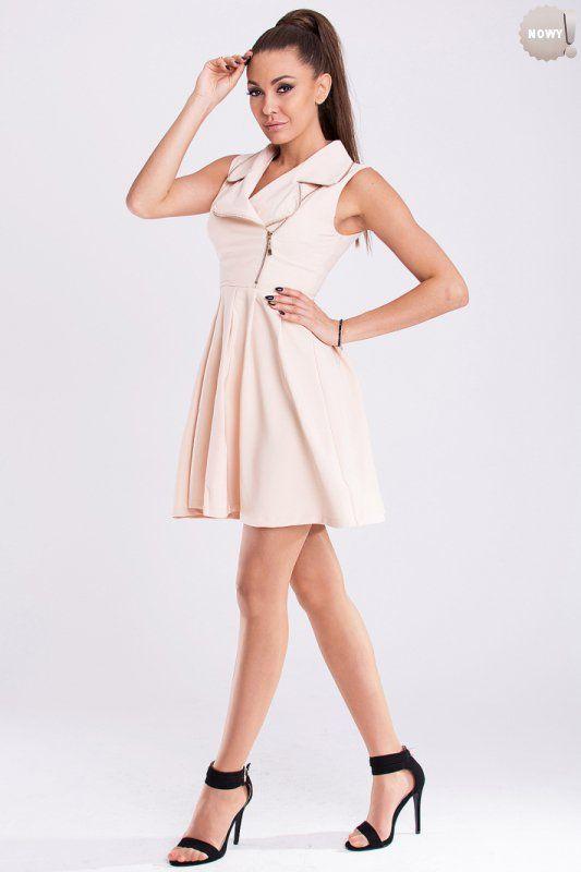 Dopasowana u góry sukienka, ozdobiona zamkami błyskawicznymi. #sukienka #krótka #elegancka #beżowy #kobieta #moda #trendy