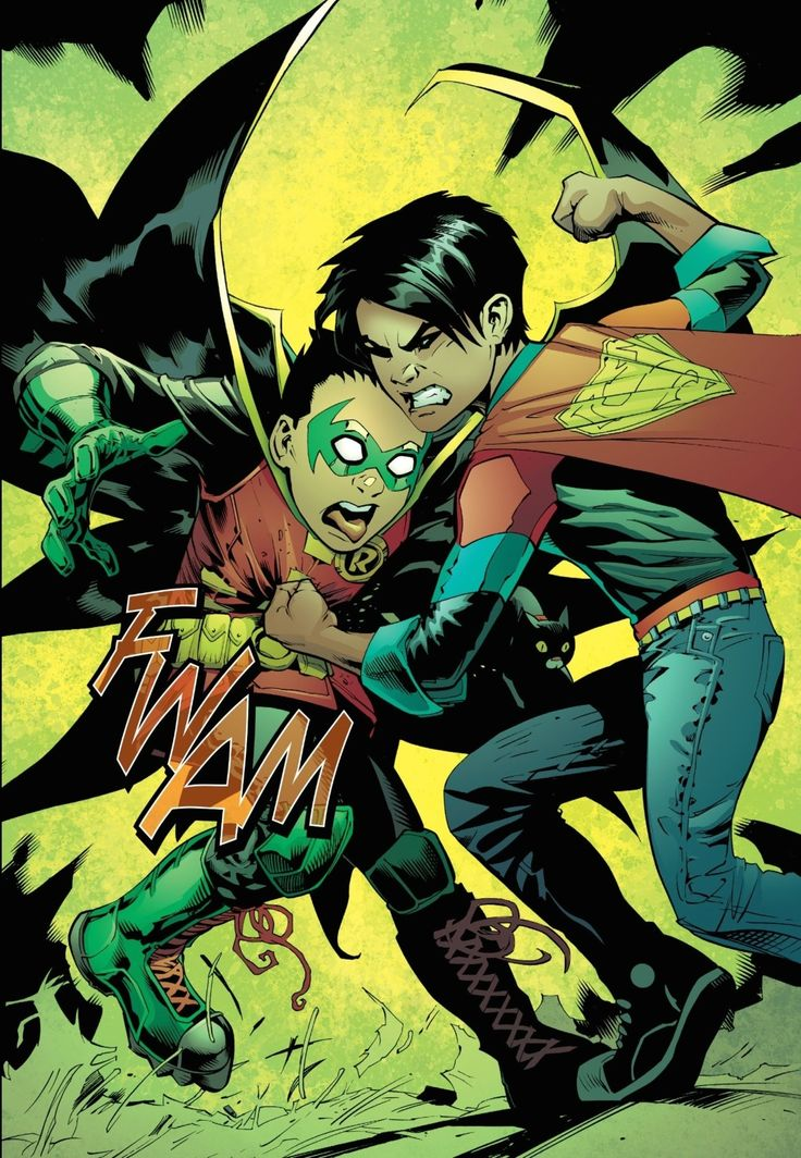 Superboy (Jon Kent) punches the hell out of Robin (Damian Wayne)