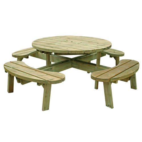 Round Picnic Table with Seat Backs - 8 Seater - Free Delivery Available - Garden Furniture