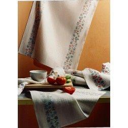 Asciugapiatti artigianale in misto lino/cotone modello Trifoglio