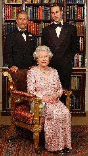 Three generations: The Queen with her son Prince Charles and grandson Prince William in th...