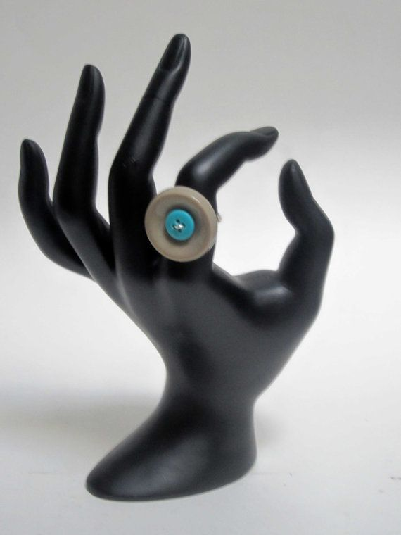 Turquoise and Grey Button Ring by ElizabethsPearlz on Etsy, $9.04