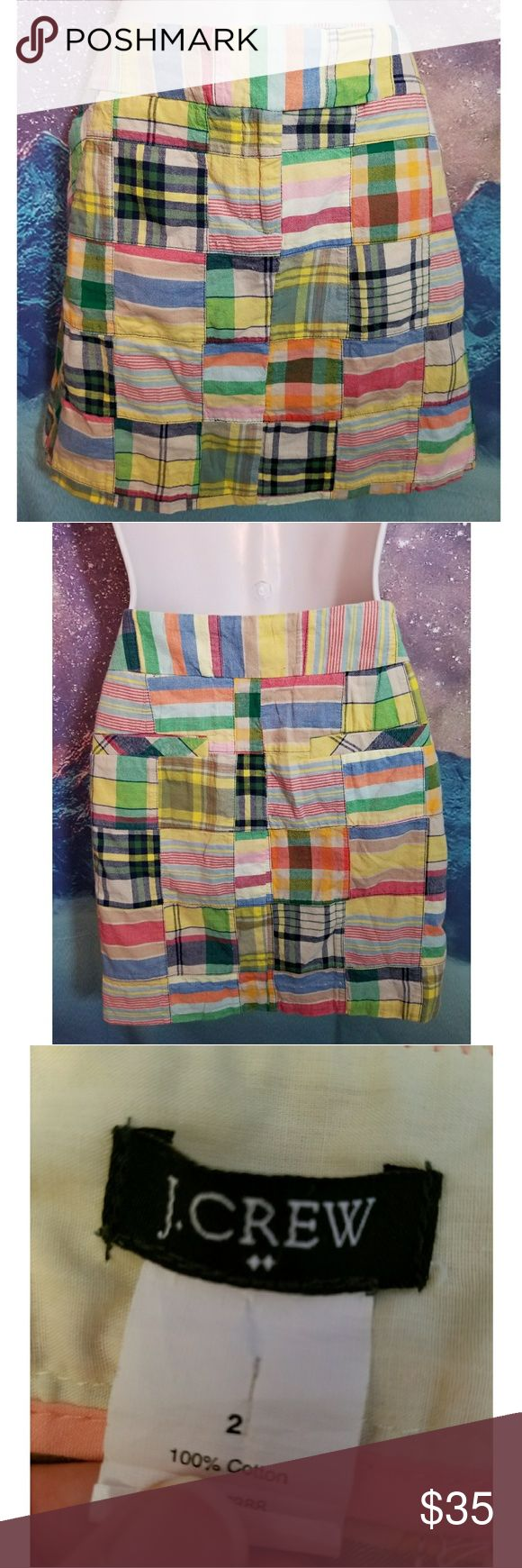 J. Crew Patchwork Plaid Mini Skirt J. Crew mini skirt excellent condition size 2 J. Crew Factory Skirts Mini