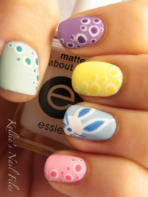 Pastel Easter Nail Designs, Easter Bunny Nails, Holiday Nail Art for Girls