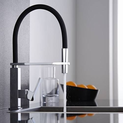Niederdruck????  Küchenarmatur mit flexibler Brause in Schwarz und Chrom - eckig - Image 1