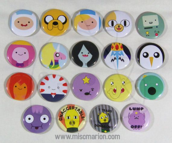 Adventure Time Buttons Magnets or Keychains 1.5 by MiscMarion