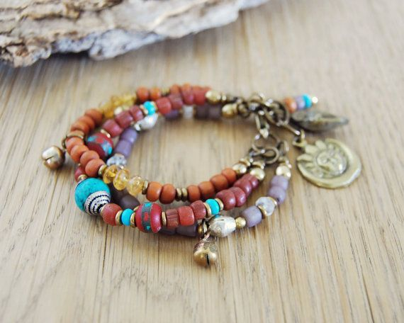 zon en maan Boheemse armband Boheemse sieraden van OmSaha op Etsy