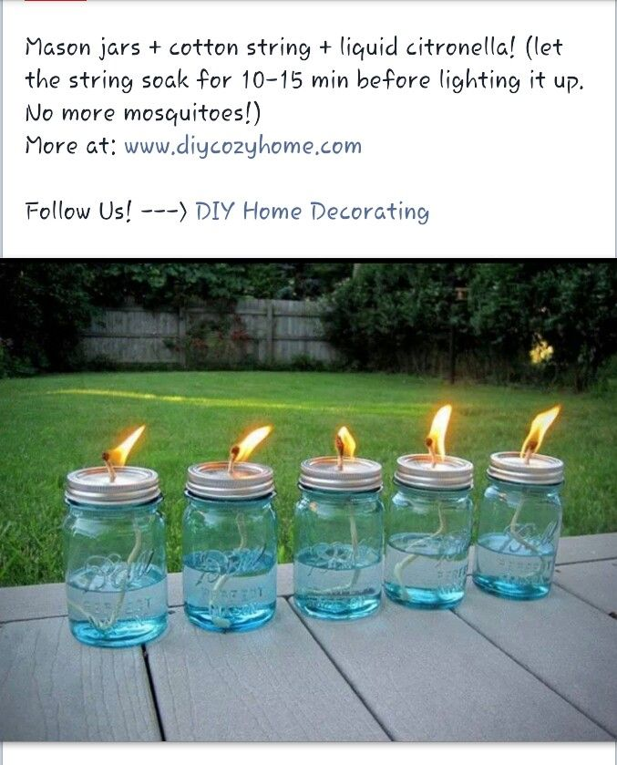 mason jar citronella for garden = mason jar + cotton string + liquid citronella