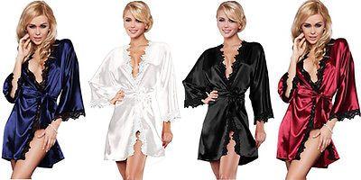 Phụ Nữ sang trọng Quần Áo Ngủ Satin Mặc Áo Choàng Áo Choàng Kimono SleepwearLingerie NWT Hot