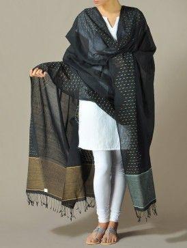 Black Dhakai Jamdani Dupatta