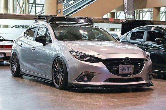 Neckbreaker 👊 Owner : @thirdgen3 #axela #sedan #stance #mazda #mazda3 #slammed #static #corksport #nextmod #toronto