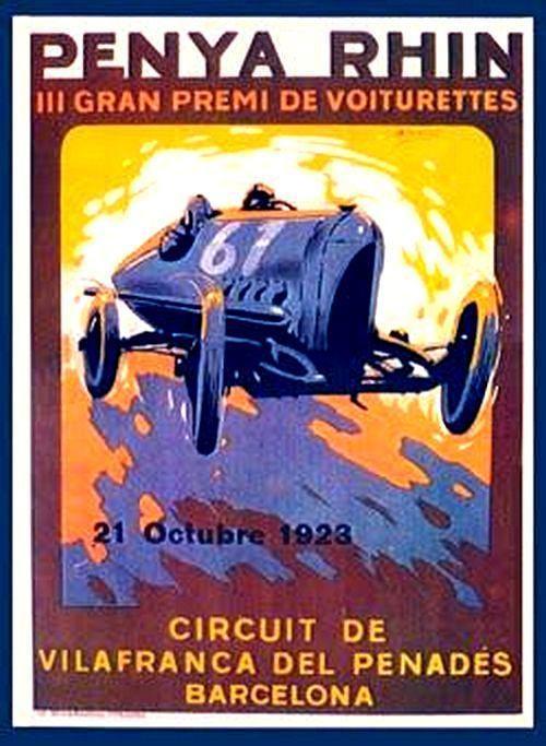 Gran Premi Penya Rhin Vilafranca Penedes 1921- 1923.  Cartell de la cursa de 1923