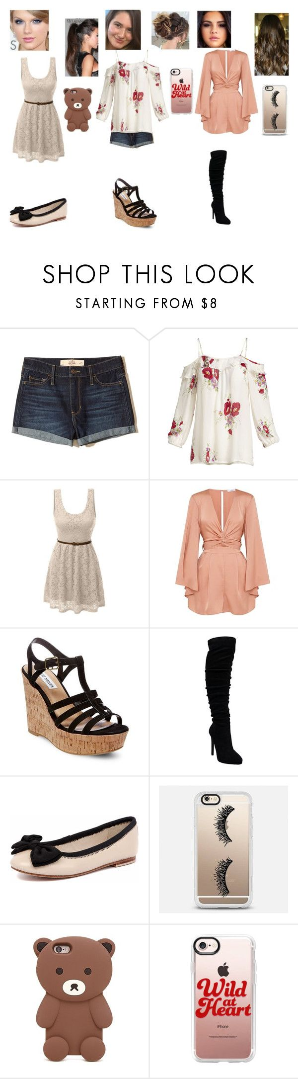 """the ellen show #4"" by y0-anna ❤ liked on Polyvore featuring Hollister Co., Joie, LE3NO, Steve Madden, Human Premium, OPTIONS, Casetify and Forever 21"