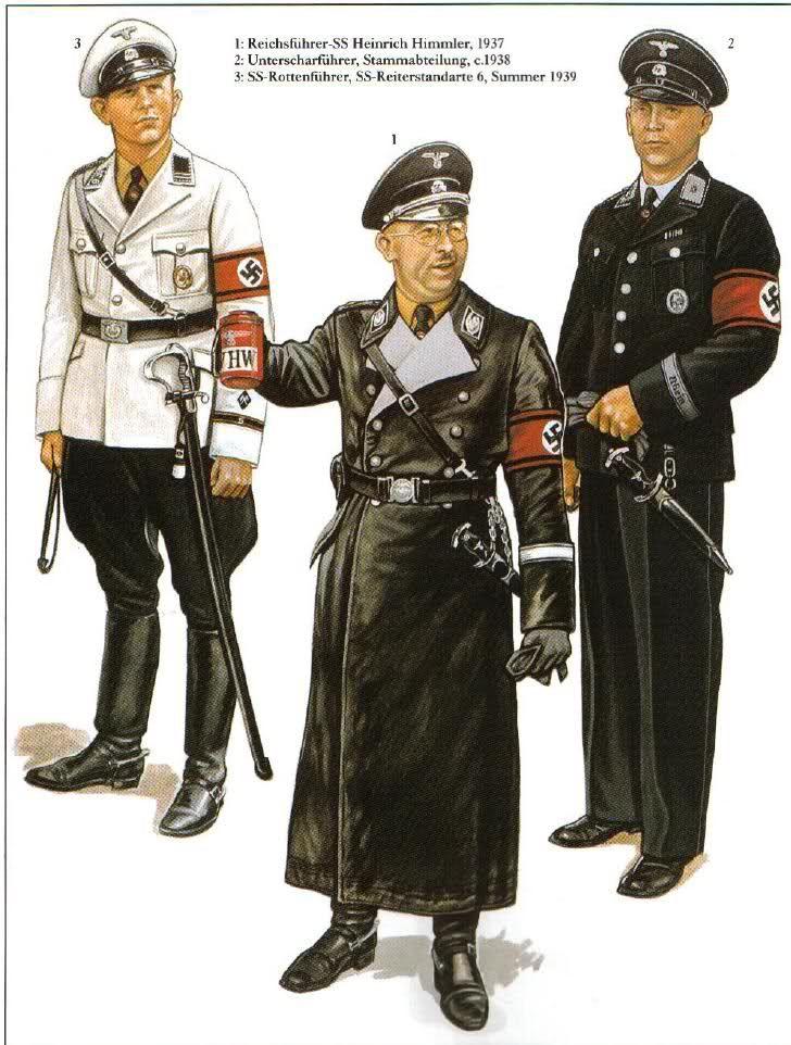 Waffen SS - 1: Reichsfuehrer-SS Eirich Himmler, 1937 - 2 Untersharfurhrer der SS, Strumabteilung C, 1938 - 3: SS Rottenfuehrer, SS Reiterstandarte 6, 1939
