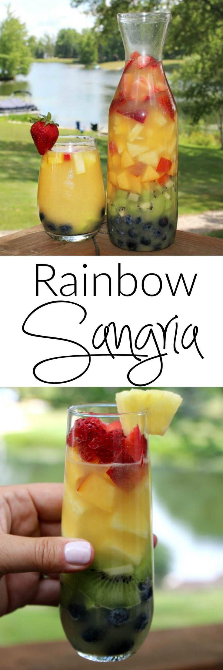 Rainbow Sangria - this easy white wine sangria recipe tastes even better than it looks
