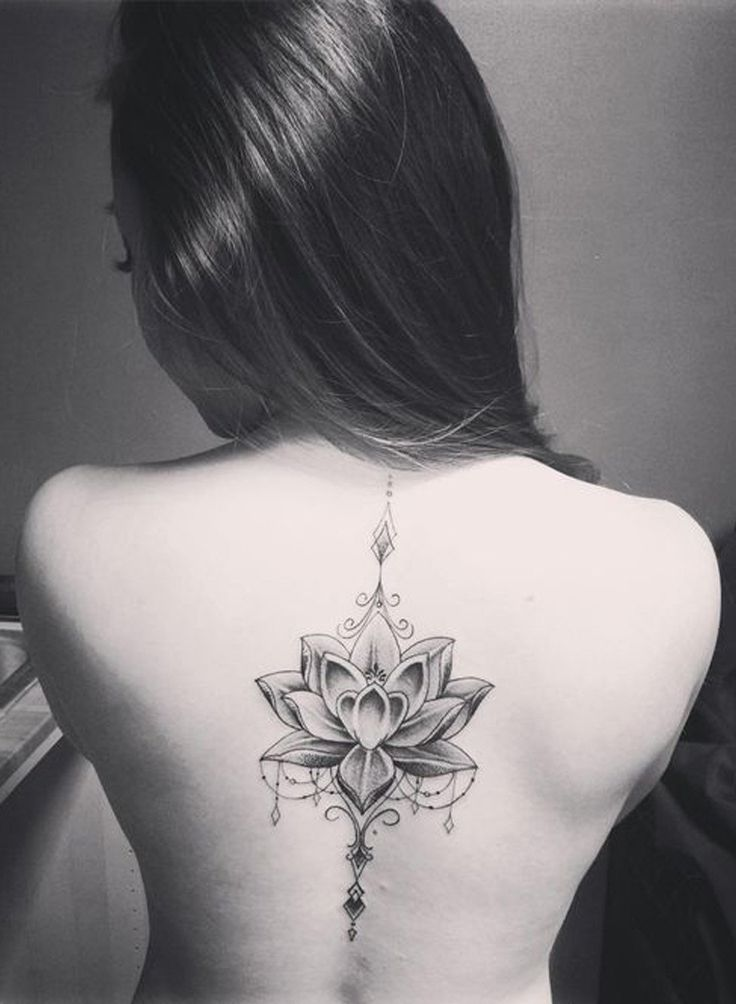 Mandala Lotus Flower Back Spine Tattoo Placement Ideas for Women at MyBodiArt.com