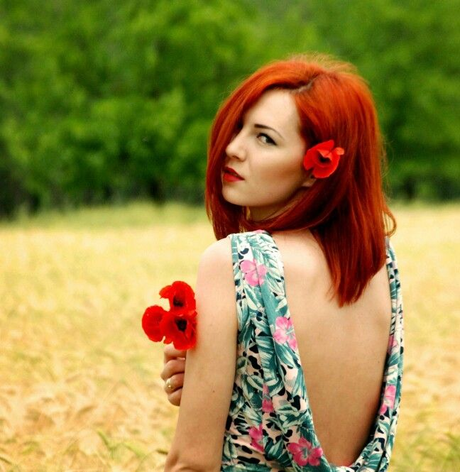 #Redhair #hairstyle #dress #summer  #poppies