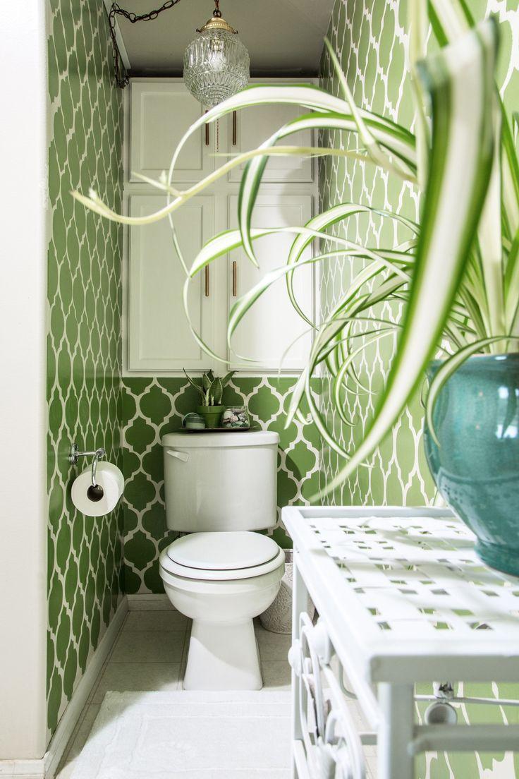 shower curtain detail - wood toilet tray - wicker hamper - color - plants & flowers