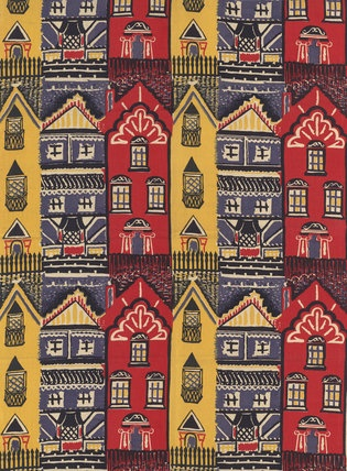 Houses furnishing fabric, designed by Joy Jarvis for Gerald Holtom, UK 1950 - from the V archives