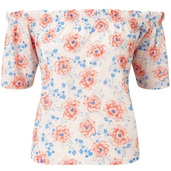 Miss Selfridge Nude Floral Bardot Top (£28) ❤ liked on Polyvore featuring tops, nude, miss selfridge tops, off the shoulder tops, pink off the shoulder top, floral print tops and floral tops