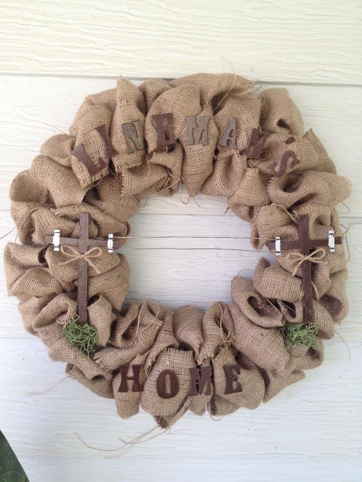 Lineman burlap wreath