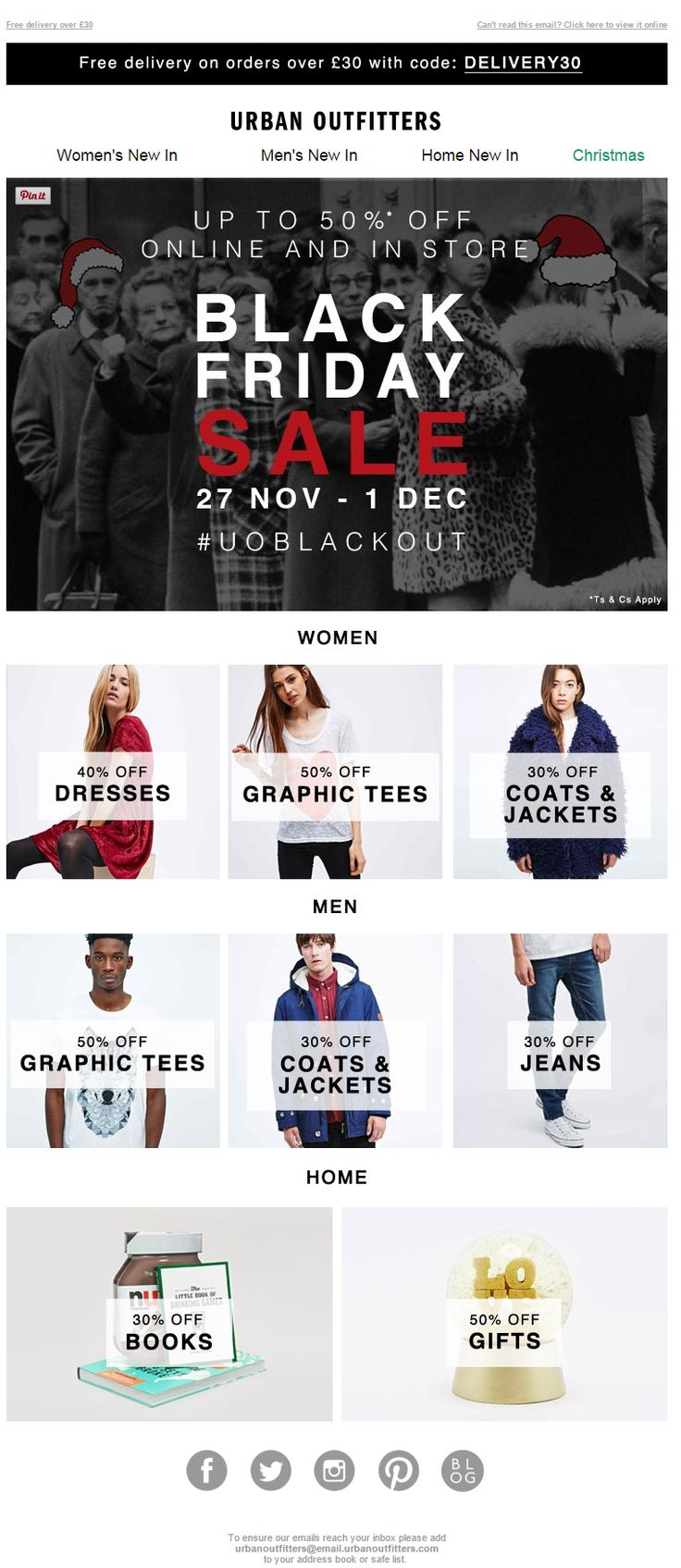 Black Friday Email Marketing Inspiration 2014 / Urban Outfitters
