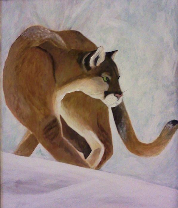 cats, wild cats, animals, paintings, animal paintings, snow paintings,