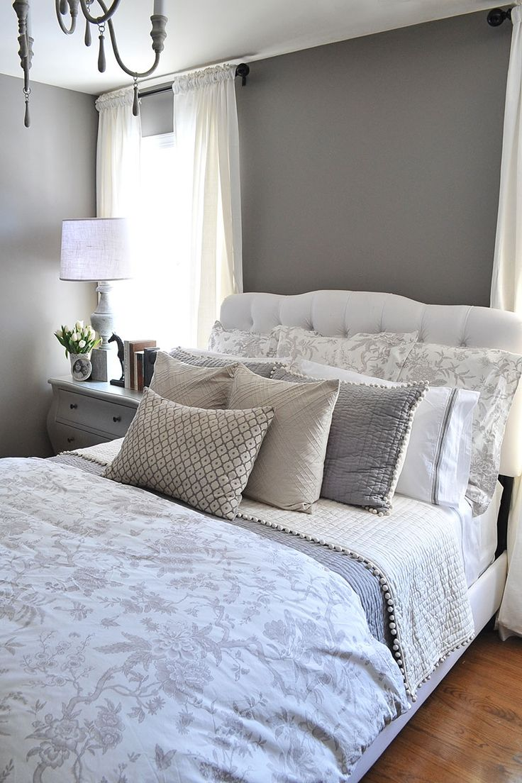 A guest bedroom makeover in grays for Bedroom ideas in grey