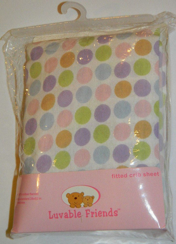 New Luvable Friends Pink Circles Dots Flannel Crib Toddler Bed Fitted Sheet